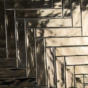 Gouden handvorm tegels 7,5x30 cm