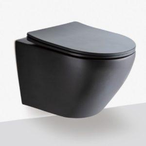 Hangend Toilet mat zwart rimfree